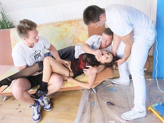 Screwed in the fanny during gang bang porn action