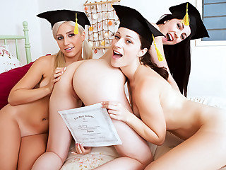 Graduation day ends with pussy play action for these hot girls